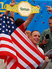 Joey Chestnut Wins Hot Dog Eating Contest