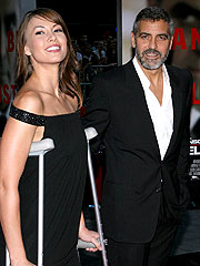 Injured George Clooney, Girlfriend Attend Premiere