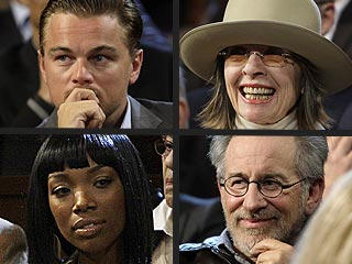 Leo, Brandy Listen Intently at Star-Heavy Democratic Debate
