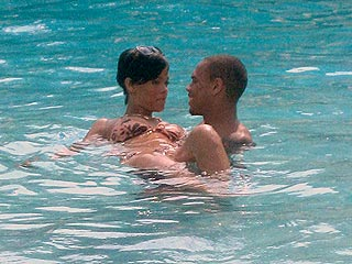 Rihanna and Chris Brown Get Wet in Jamaica
