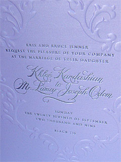 PHOTO: Khloe and Lamar's Wedding Invite