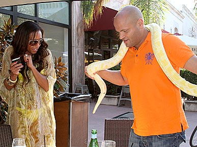 Spotted: Mel B and Stephen Belafonte Say Hello to a Snake!