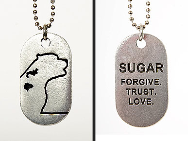 Delicate Pewter Tags Commemorate Sugar, One Courageous Dog