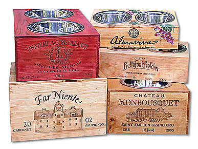Wine Crate Pet Bowls Take Fido to the Vineyard Without Leaving Home