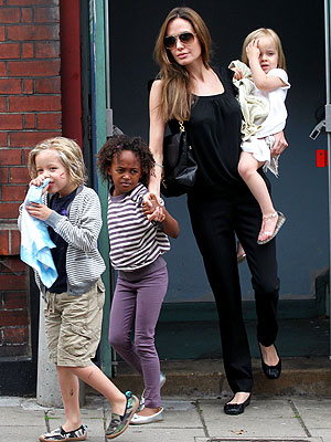 Angelina Jolie Catches Smurfs with Her Girls