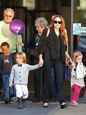 Angelina Jolie, Brad Pitt's Parents Take Kids Out in Budapest