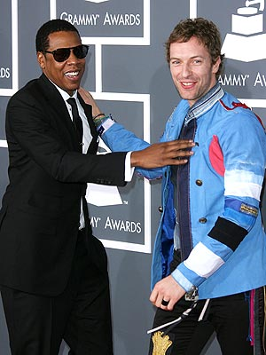 "Photo of Chris Martin & his friend musician  Jay-Z - Song ""Most Kingz"""