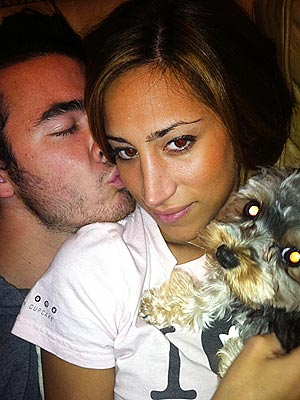 Kevin Jonas, Danielle Jonas with Dog Riley: Photo