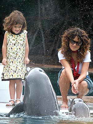 Salma Hayek and Valentina Play with Dolphins: Photos
