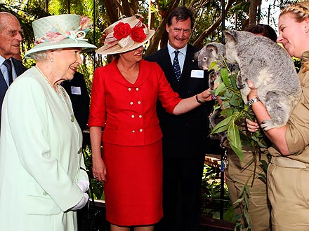 Queen Elizabeth Visits Queensland, Australia, Meets Koalas
