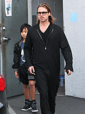 Brad Pitt & Maddox Go Guitar Shopping in Hollywood