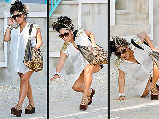 Snooki Takes a Tumble in Platform Sandals | Nicole Polizzi
