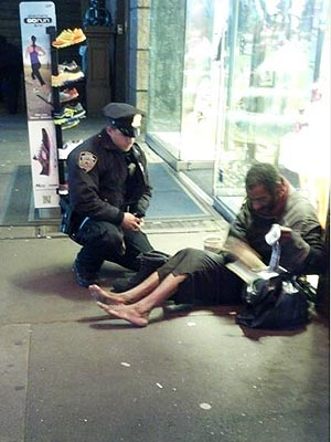 NYPD Officer Larry DePrimo Gives Boots to Homeless Man