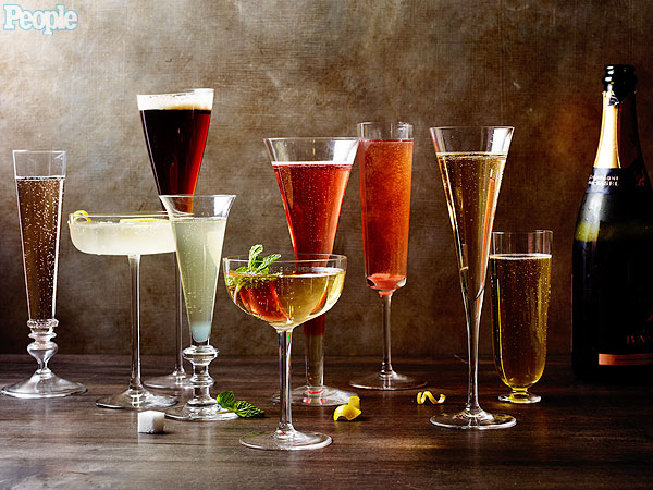 New year 39 s champagne cocktail recipes celebrity diners for Champagne mixed drinks