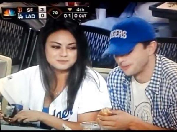 Mila Kunis Dating Ashton Kutcher; Couple Watches Baseball Game: Pictures