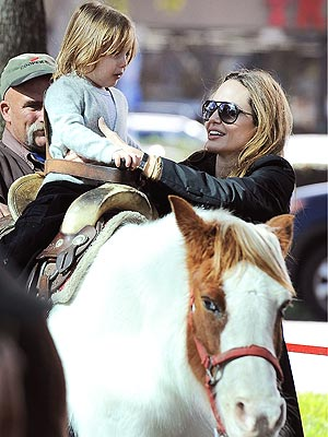 Angelina Jolie at Farmers Market, Knox Jolie-Pitt on Pony