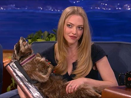 Conan Gives Amanda Seyfried His Taxidermied Jet Pack Raccoon