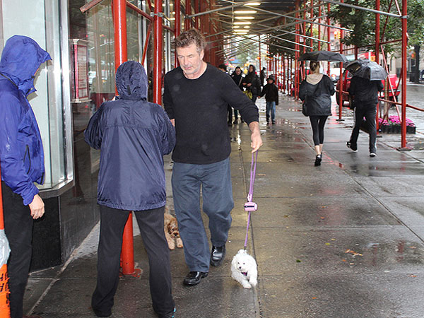 Alec Baldwin Faces Hurricane Sandy to Walk His Dogs