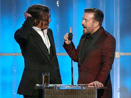 Golden Globes: Ricky Gervais Zings Kim Kardashian, Johnny Depp