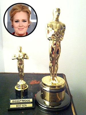 Adele Presents Mini Oscar to Her 'Best Son'