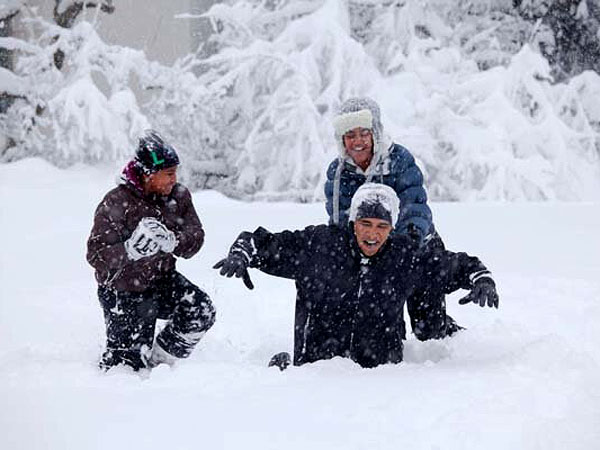 Winter Weather: President Obama Post Snow Day Picture (from 2011)