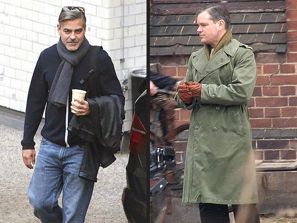 George Clooney, Matt Damon Snowball Fight in Berlin on Monuments Men Set