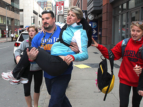 Joe Andruzzi, Former New England Patriot, Helps Injured at Boston Marathon