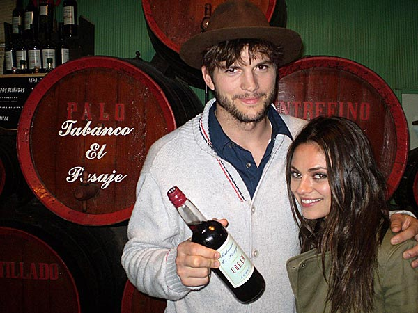 Ashton Kutcher & Mila Kunis Visit Winery in Spain