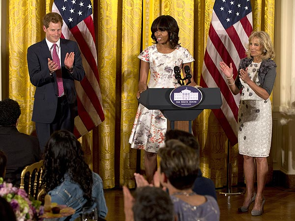 Michelle Obama Welcomes Prince Harry at White House