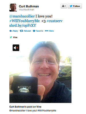 Curt Buthman Proposes to Girlfriend Marsha Collier on Twitter