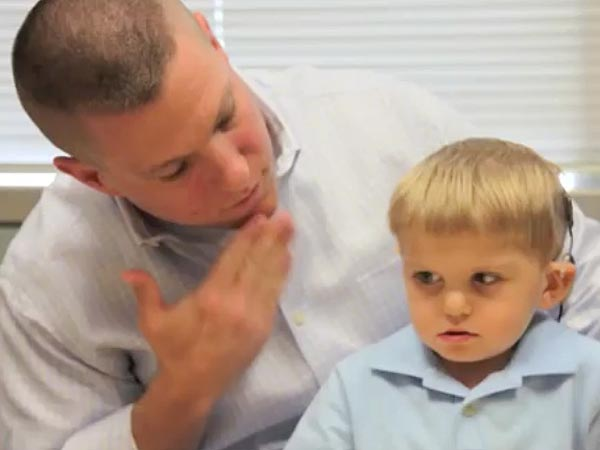 Formerly Deaf 3-Year-Old Hears His Father for the First Time