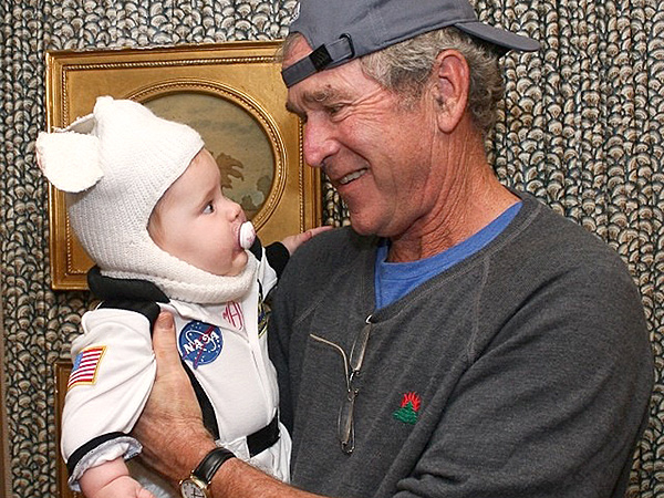 George W. Bush Trick-or-Treats with His Adorable Granddaughter