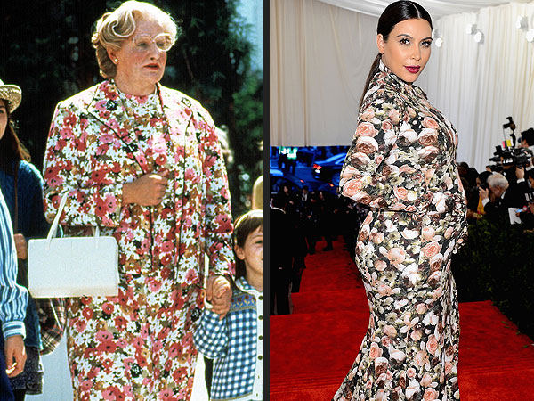 Kim Kardashian Channels Mrs. Doubtfire Style