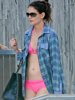Katie Holmes Sports a Pink Bikini in Miami