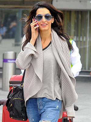 Amal Alamuddin Glows at Heathrow