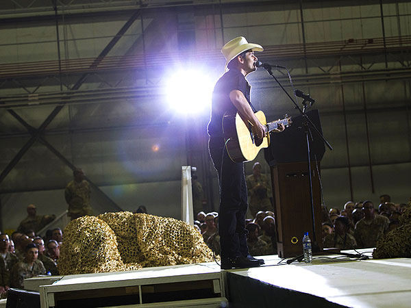 Brad Paisley Performs for Troops in Afghanistan