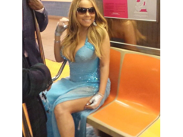 Mariah Carey Rides NYC Subway in Gown: Photos and Videos