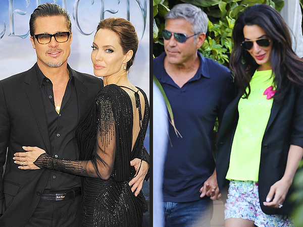 Angelina Jolie & Brad Pitt vs. George Clooney & Amal Alamuddin – Who Will Wed First?