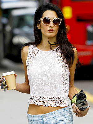 Amal Alamuddin, George Clooney's Fiancee, Shows Off Midriff in London
