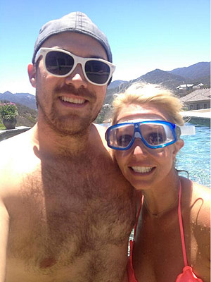 Britney Spears Grins Poolside with Boyfriend David Lucado