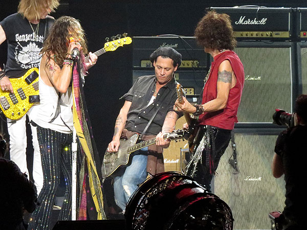 Johnny Depp Rocks Out with Steven Tyler & Aerosmith in Boston