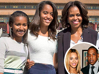 Michelle Obama & Daughters Attend Beyoncé & Jay Z Concert in Ch