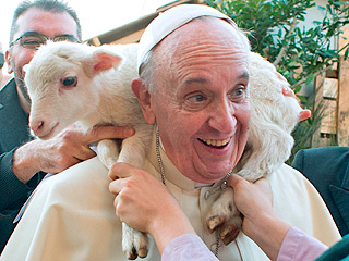 The Daily Treat: Pope Francis Grins Big While a Lamb Rests on His Shoulders