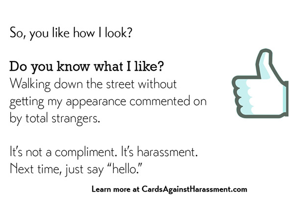 Woman Creates Cards Against Harassment to End Verbal Harassment for Women