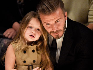 So Cute! Harper Beckham Styles Dad David's Hair – with a Bow