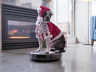 A Dog Dressed Like Santa Zooms Around on a Roomba, and It's Awesome