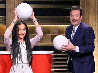 Watch Jimmy Fallon and Zoë Kravitz Play a Giant Game of Beer Pong