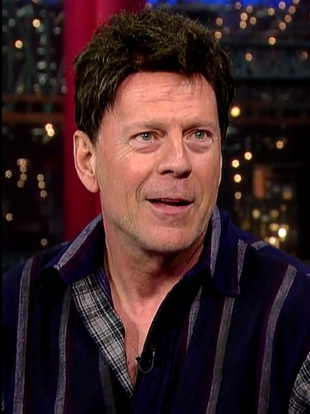 Bruce Willis Wears '80s Wig on David Letterman : People.com Bruce Willis