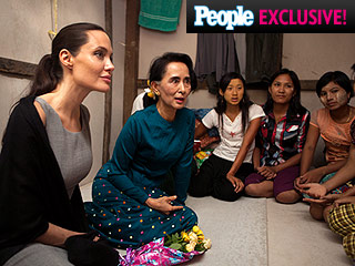 Angelina Jolie Pitt Tours Factory with Aung San Suu Kyi During Myanmar Humanitarian Trip