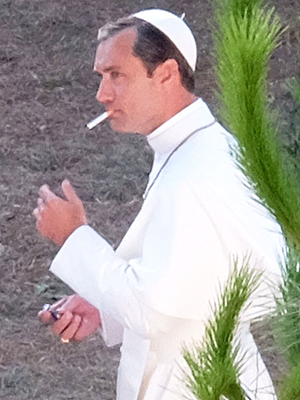 Jude Law Smokes in His Pope Outfit While on Set of HBO Series The Young Pope